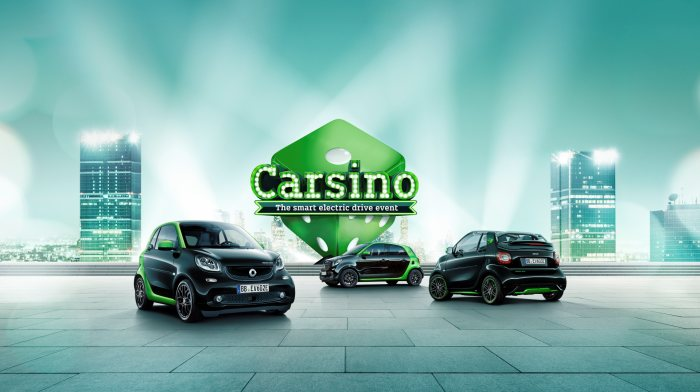 "Market launch of the new smart electric drive family: Your stake, your prize: Welcome to ""smart electric drive Carsino""."