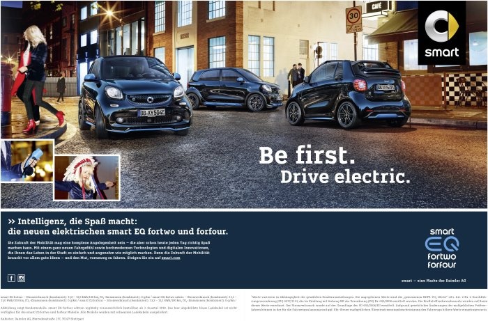 International campaign for the market launch of the smart EQ fortwo and forfour models: Bold new ventures with smart