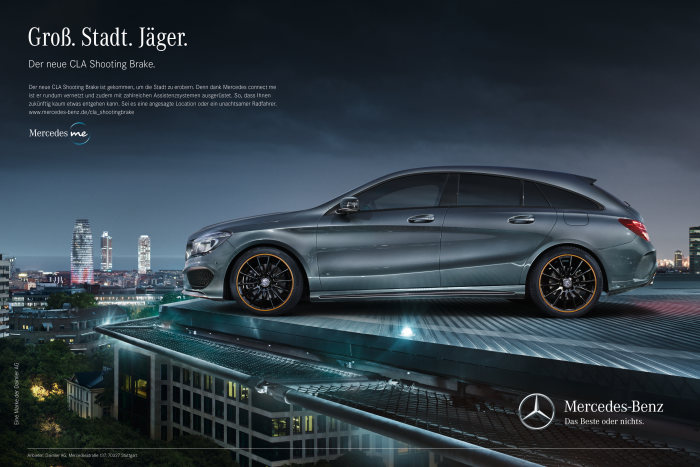 Market launch campaign for the new Mercedes-Benz CLA Shooting Brake: Designed for urban hunting.