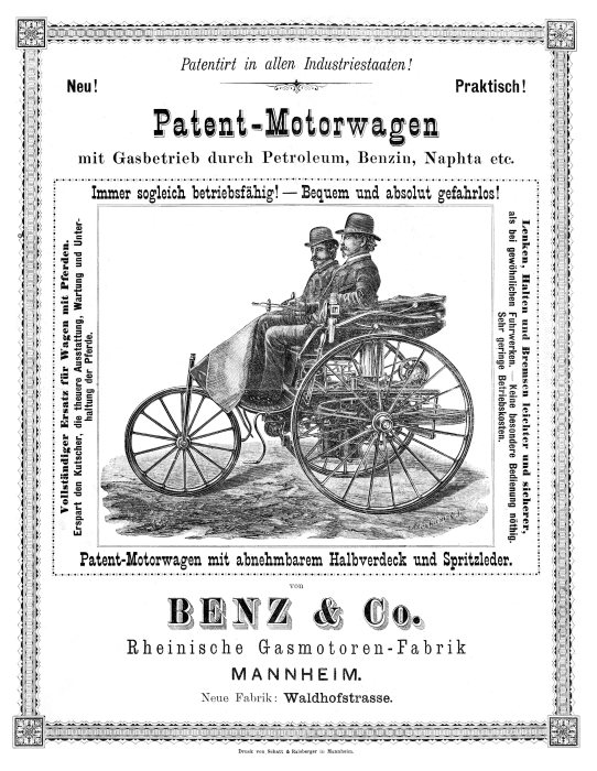 Advertisement for the Benz Patent Motor Car.