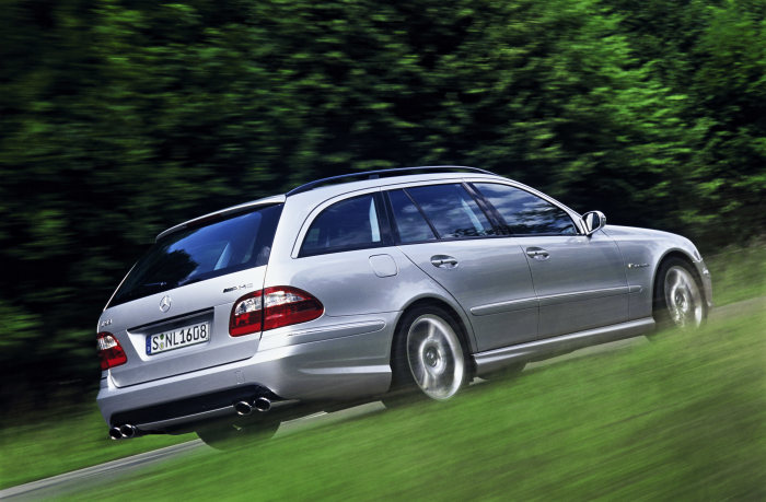 Mercedes-AMG, E-Class, E 55 AMG, estate, side view, driving shot