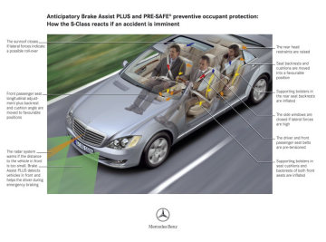 Anticipatory occupant protection: the Mercedes-Benz-developed PRE-SAFE® system activates pre-crash protection measures before an imminent accident so that the seat belts and air bags protection upon impact.