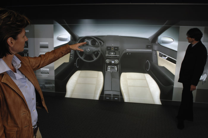 Mercedes-Benz C-Class: The interior designers also took advantage of the enormous possibilities of computer-aided design to test and discuss designs on the Powerwall.