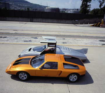Mercedes-Benz record cars C 111-III, 5-cylinder-turbodiesel (in the back), C 111-II with a four-rotor Wankel engine (in the front), on the test track at Untertürkheim.