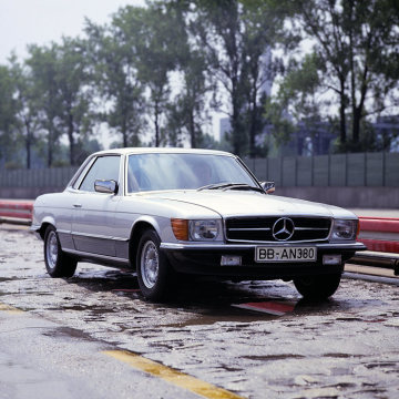Mercedes-Benz 450 SLC 5.0 (107 series) on the test track at Untertürkheim.