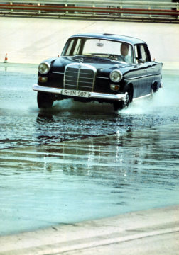 "Mercedes-Benz 230 ""fintail"", 1965-68, on the test track at Untertürkheim."