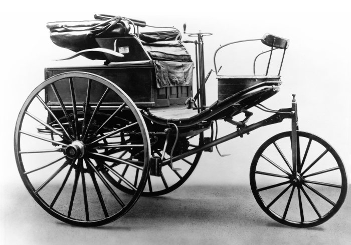 Benz patent motor car, 1888: Among other things, spoked wooden wheels were a feature of the third evolutionary version of this car.