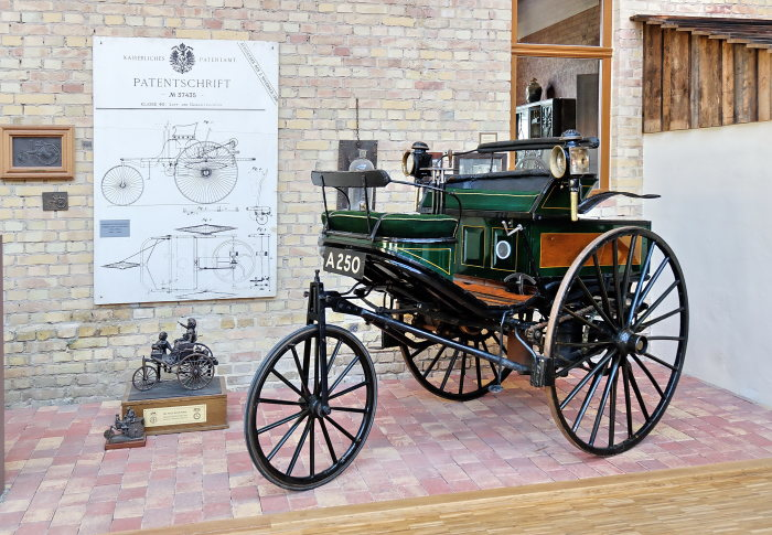 Back home: The original Benz patent motor car of 1888 in the Dr. Carl Benz Automotive Museum in Ladenburg, on loan by the Science Museum in London.