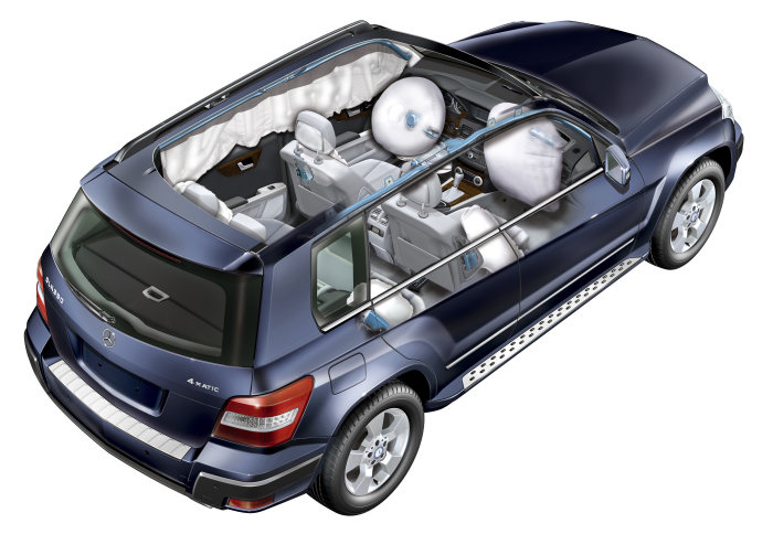 Mercedes-Benz GLK-Class: The passenger cell acts as a high-strength safety cage that protects the occupants in the event of an offset or side collision. Passive safety is further enhanced by a complete airbag and seat-belt system as well as the NECK PRO crash-responsive head restraints. Up to nine airbags can be specified.