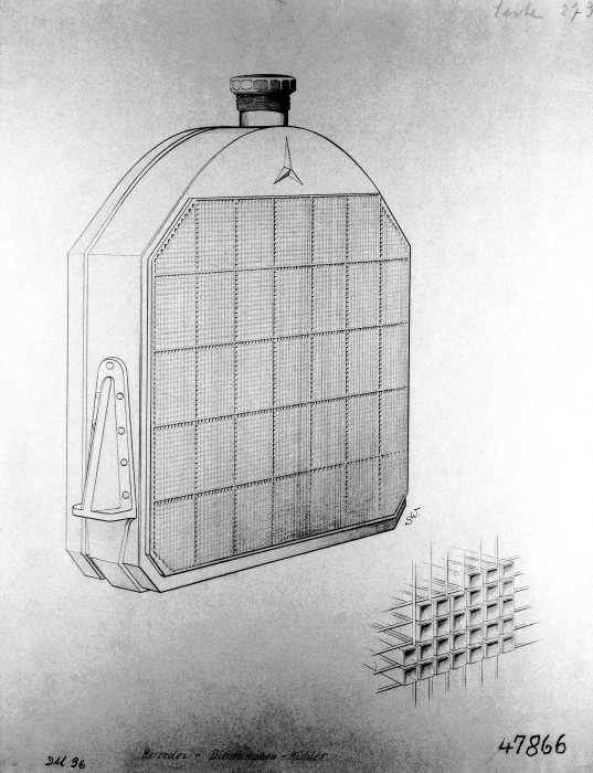 Important precondition for further increases in the performance of vehicle engines: Wilhelm Maybach's honeycomb radiator, patented in December 1900.