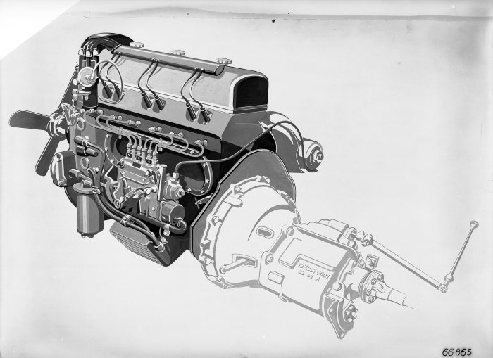 The world's first four-stroke engine with fuel injection: Engine of the Mercedes-Benz 300 SL of 1954.
