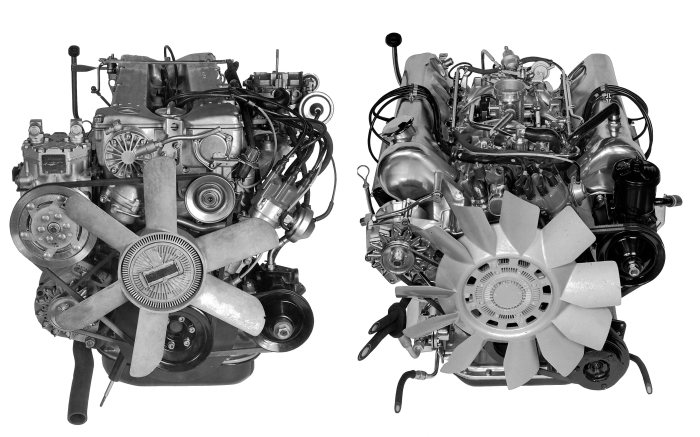 Comparison of engines: Mercedes-Benz 280 S and 350 SE/350 SEL of 1973.