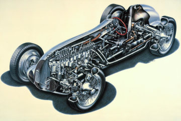 Cutaway drawing of the Mercedes-Benz W 125 racing car, 1937.