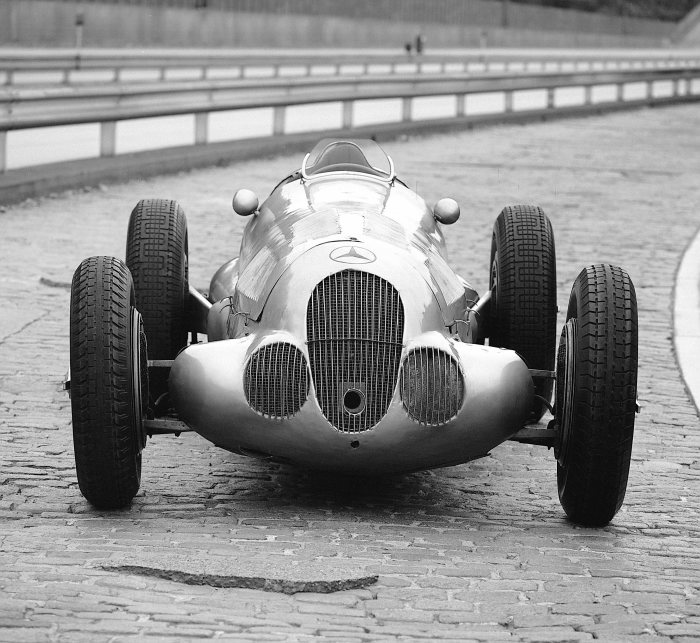 Mercedes-Benz formula racing car W 125, 1937 (on the test track in Untertürkheim, 1972).