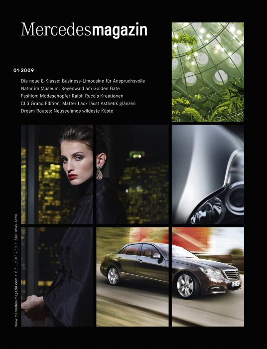 "New layout of the customer magazine ""Mercedes Magazine"", 2009, title page."