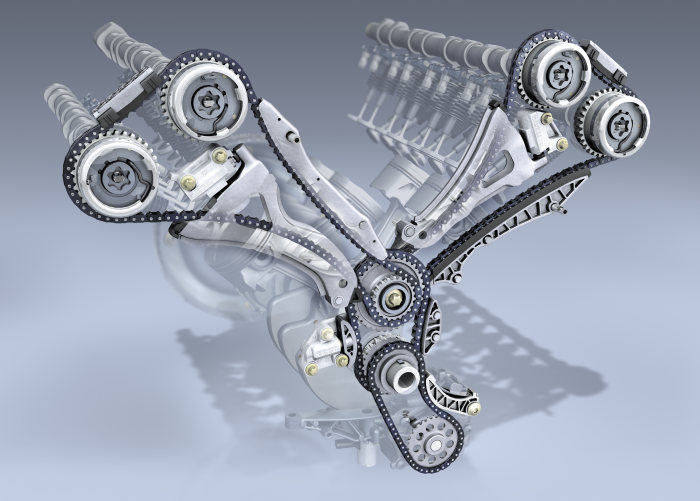 The new V-engine generation from Mercedes-Benz: Two-part chain drive in the new V-engines