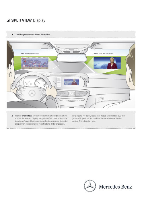 Mercedes-Benz CL-Class 2010 model year. SPLITVIEW: the driver and front passenger are able to view different content on one and the same screen at the same time. (german version)