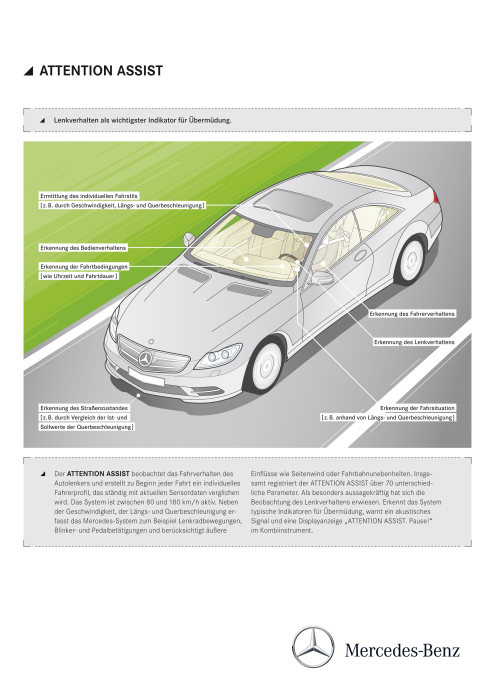Mercedes-Benz CL-Class 2010 model year: ATTENTION ASSIST continuously analyses 70 different parameters to detect driver fatigue and warn against the dangerous phenomenon of microsleep in a timely manner. (german version)
