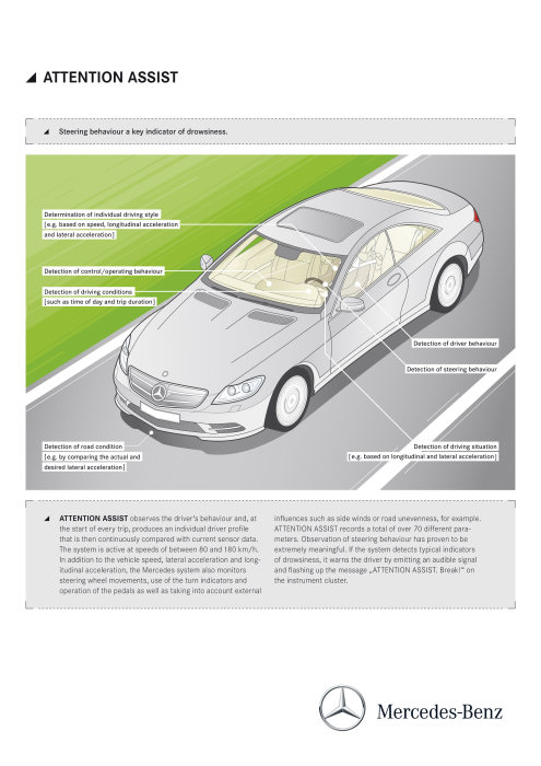 Mercedes-Benz CL-Class 2010 model year: ATTENTION ASSIST continuously analyses 70 different parameters to detect driver fatigue and warn against the dangerous phenomenon of microsleep in a timely manner.
