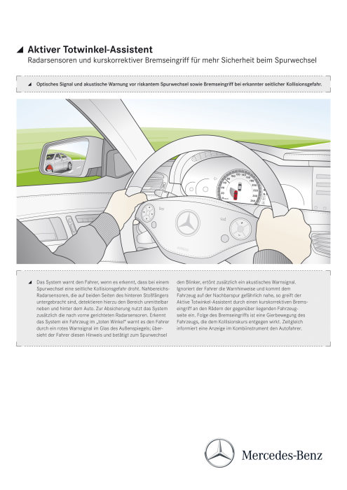 Mercedes-Benz CL-Class 2010 model year: If Active Blind Spot Assist recognizes that a lane change would be too dangerous, it fi rst warns the driver by means of a red signal in the glass of the exterior mirror. (german version)