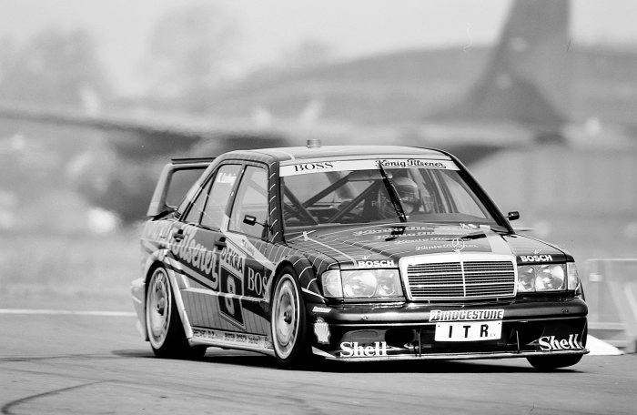 Airfield race Wunstorf, 9 June 1991. Klaus Ludwig (number 8) on AMG Mercedes-Benz racing touring car 190 E 2.5-16 Evolution II (W 201) comes on third place in the overall results.