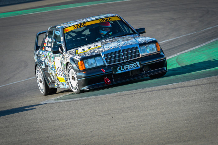 Mercedes-Benz Classic racing car Mercedes-Benz 190 E 2.5-16 Evolution II (W 201) on its way to the Youngtimer Trophy during the Historic Trophy 2014 at the Nürburgring in June 2014.