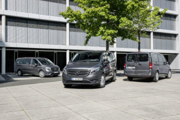 Mercedes-Benz Vito Modellprogramm: Tourer SELECT, 119 BlueTEC, Exterieur, flintgrau metallic; Tourer PRO 114 CDI, flintgrau metallic; Tourer BASE, 111 CDI, flintgrau metallic