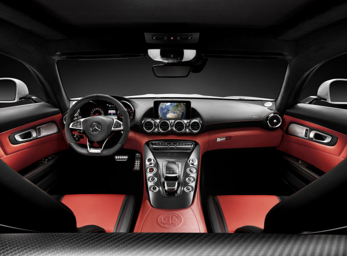 Mercedes-AMG GT, studio, interior: Exclusive nappa leather AMG red pepper/black; trim: AMG carbon-fibre matt, studio