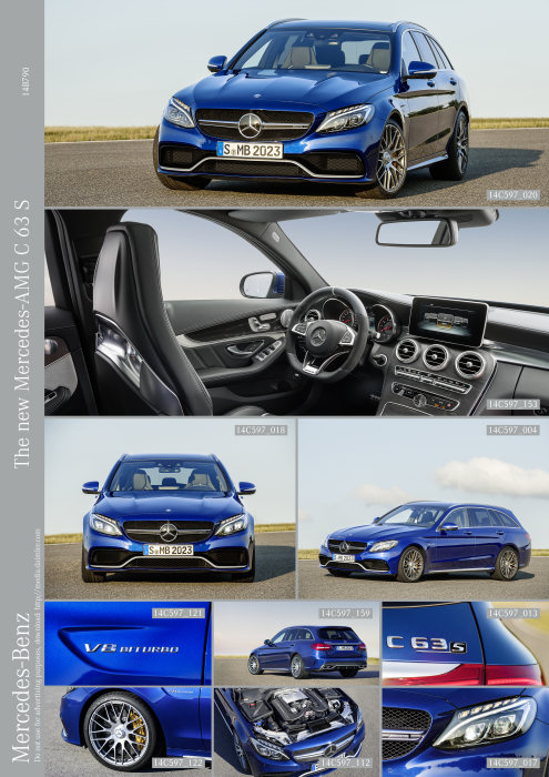 Mercedes-AMG C 63 S, estate, exterior: brilliant blue metallic; AMG Night package, AMG high-performance ceramic composite braking system, heat-insulating dark-tinted glass, interior: Leather black, AMG Performance seats, open-pore black ash wood trim