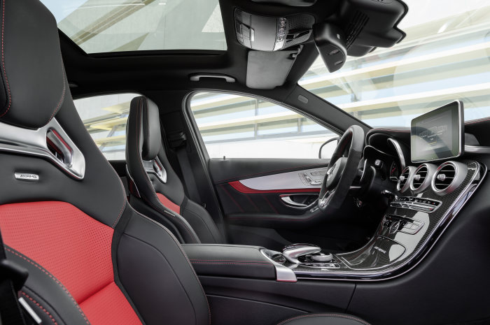 Mercedes-AMG C 63, interior: nappa leather red pepper/black, AMG Performance seats, AMG carbon-fibre / aluminium trim