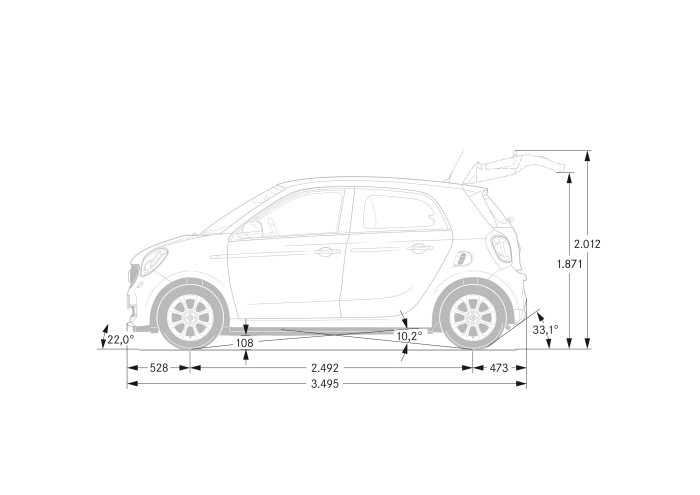 smart forfour, dimensions