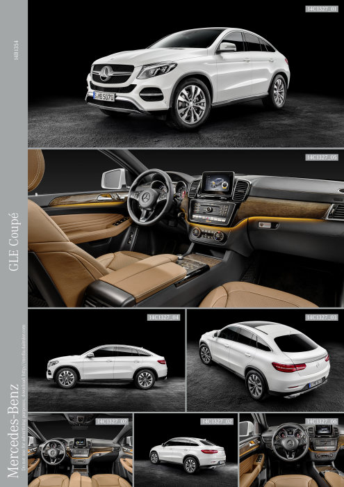 Mercedes-Benz GLE Coupé, GLE Coupé 4MATIC, studio, exterior: designo diamond white bright, interior: leather saddle brown / black, high-gloss brown eucalyptus wood trim