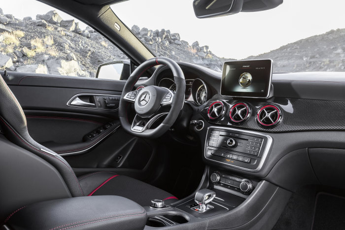 Mercedes-AMG CLA 45 Shooting Brake, interior, RED CUT black leather