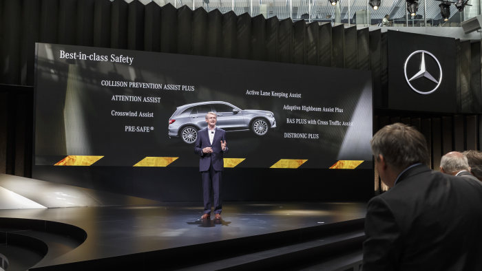 World Premiere: The new Mercedes-Benz GLC, Metzingen 2015. Professor Dr. Thomas Weber, Member of the Board of Daimler AG, responsible for Group Research and Mercedes-Benz Cars Development presenting the  new Mercedes-Benz GLC