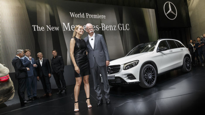 Dr. Dieter Zetsche, Chairman of the Board of Management of Daimler AG and Head of Mercedes-Benz Cars and Petra Nemcova, face of the GLC campaign, at the wotld premiere of the new Mercedes-Benz GLC