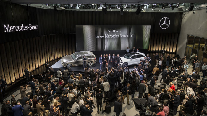 World Premiere: The new Mercedes-Benz GLC, Metzingen 2015. Dr. Dieter Zetsche, Chairman of the Board of Management of Daimler AG and Head of Mercedes-Benz Cars, Professor Dr. Thomas Weber, Member of the Board of Daimler AG, responsible for Group Research and Mercedes-Benz Cars Development, and Ola Källenius, Member of the Board of Daimler AG, responsible for Mercedes-Benz Cars Marketing and Sales, Gorden Wagener Head of Design Daimler AG, Claus-Dietrich Lahrs, CEO Hugo Boss AG and Petra Nemcova, face of the GLC campaign