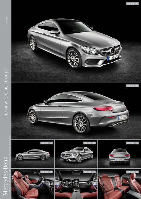 Mercedes-Benz C-Class Coupé C 300, selenit grey, leather cranberry red