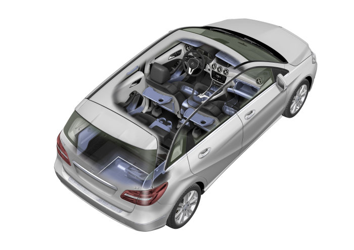 Mercedes-Benz B-Class: The storage package encompasses a compartment for glasses in the roof control unit, a box beneath the front seats, parcel nets and folding tables at the backrests of the front seats.