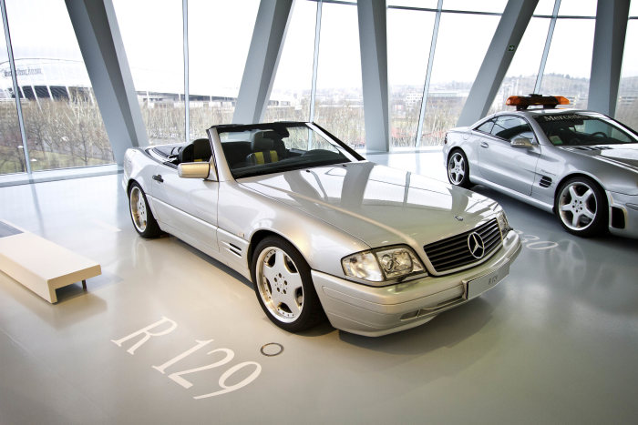 In 1998, an SL-Class (R 129 series) sports car was used to test a drive-by-wire system with side-sticks for steering, accelerator and brake, developed from the then DaimlerChrysler research department.