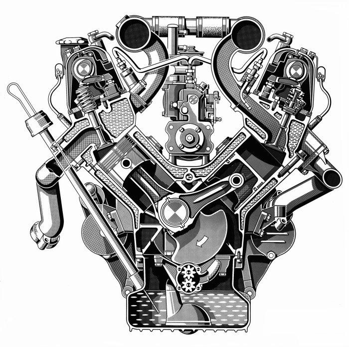 6,3-liter-V8-motor M 100 of the Mercedes-Benz 600 (W 100 series, 1963 to 1981). Drawing, transversal section.