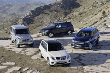 "The most diverse range of SUVs in the premium segment comes from Mercedes-Benz. A total of four model lines are available in this globally growth-oriented market. M- and GL-Class round off the successful family alongside the compact GLK and the classic ""G"" all-terrain vehicle."