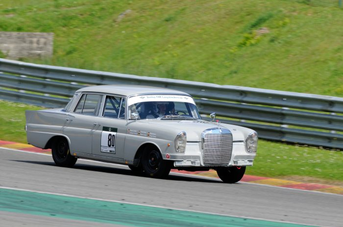 Mercedes-Benz type 220 SE (W 111), modified by Mercedes-Benz Classic for historic motor sports. Photo of the race in Spa-Francorchamps on 21./22. September 2012 of the Fahrergemeinschaft historischer Rennsport e.V. (FHR) where the car won it's class (drivers: Roland Asch and Gregor Schulz).