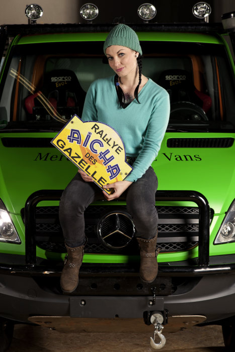 Car expert Lina Van de Mars to take part with a Mercedes-Benz Sprinter in the rally Aicha des Gazelles 2013 in Morocco (Daimler Photo do not use for advertising purposes)