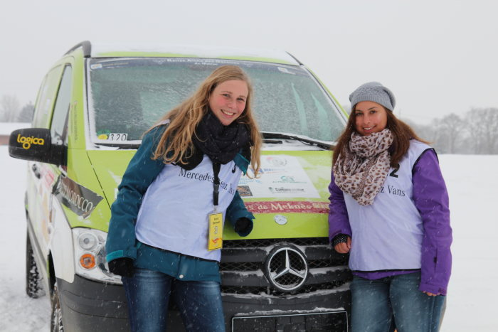 Daimler employees Astrid Ebermann (left) and Sabrina Trillmann will drive a Mercedes-Benz Vito 4x4 at the Aicha des Gazelles 2013 rally (Daimler Photo do not use for advertising purposes)