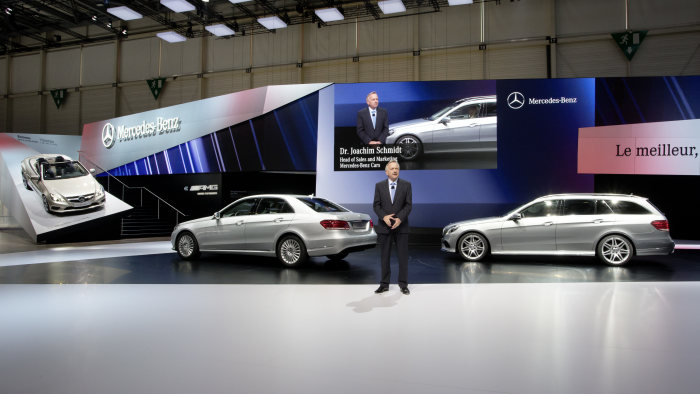 Mercedes-Benz at the Geneva Motor Show 2013: Dr. Joachim Schmidt, Executive Vice President Mercedes-Benz Cars Sales & Marketing, presenting the new E-Class at the Mercedes press conference in Geneva.