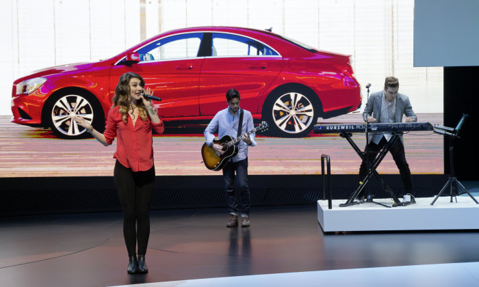 Mercedes-Benz at the Geneva Motor Show 2013: The American pop duo Karmin at the presentation of the new CLA in Geneva.