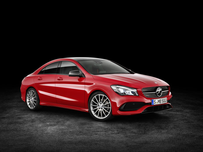 Mercedes-Benz CLA 200 d 4MATIC Coupé (C117) 2016. Jupiter red, interior: black leather. Fuel consumption (l/100 km) urban/ex urban/combined: 5.5/4.0/4.6  combined CO2 emissions: 119 g/km