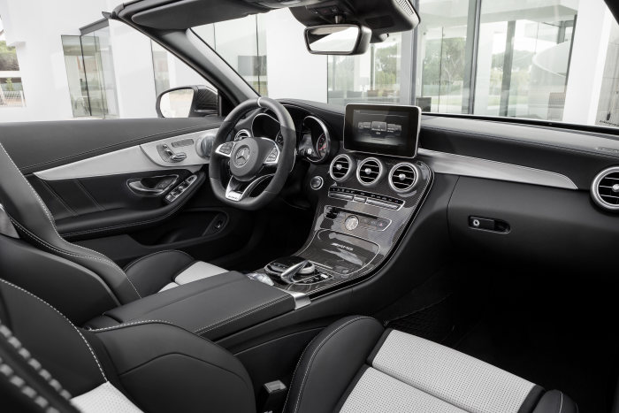 Mercedes-AMG C 63 S Cabriolet (A205) 2016; exterior: designo diamond white bright; interior: AMG nappa leather platinium white pearl/black; Fuel consumption, combined (l/100 km): 8.9, CO2 emissions, combined (g/km): 208