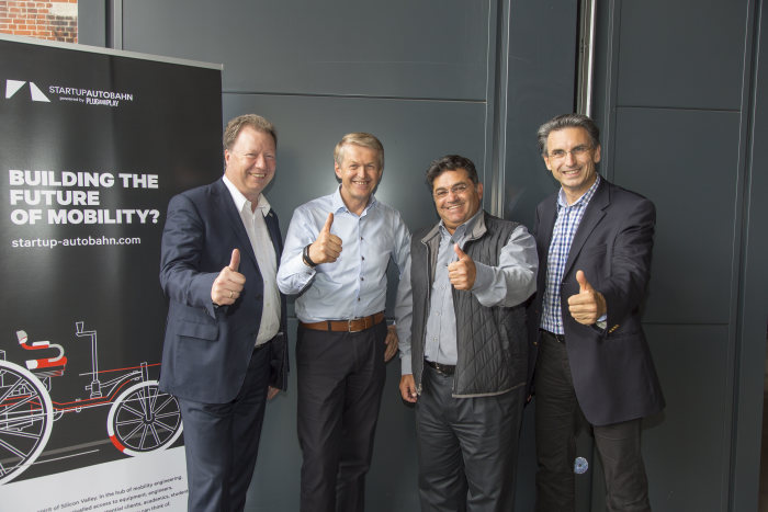 The initiators of STARTUP AUTOBAHN: (left) Prof. Wolfram Ressel, Vice-Chancellor Stuttgart University, Prof. Dr. Thomas Weber,  Member of the Board of Management of Daimler AG and responsible for Group Research and Mercedes-Benz Cars Development,  Saeed Amidi, CEO Plug & Play Tech Center, Peter Fröschle, Director ARENA2036