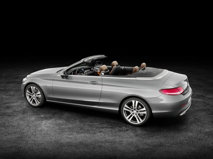 Mercedes-Benz C 220 d 4MATIC Cabriolet, Edition 1, E exterior: designo selenite grey, AMG Line; interior:  black/nut brown  Fuel consumption (l/100 km) urban/ex urban/combined:   5.4/3.9/4.5 combined CO2 emissions:  116 g/km